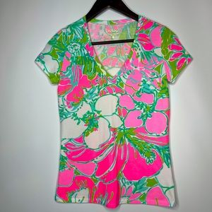 LILLY PULITZER MICHELE TOP T-SHIRT FLAMINGO PINK